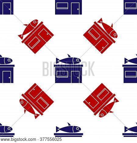 Blue And Red Seafood Store Icon Isolated Seamless Pattern On White Background. Facade Of Seafood Mar