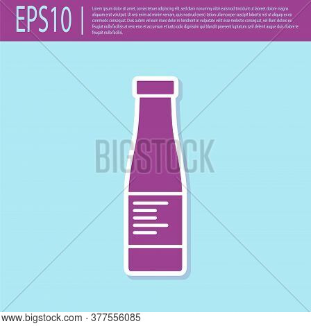 Retro Purple Sauce Bottle Icon Isolated On Turquoise Background. Ketchup, Mustard And Mayonnaise Bot