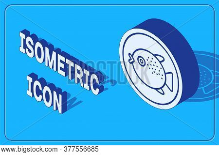 Isometric Puffer Fish On A Plate Icon Isolated On Blue Background. Fugu Fish Japanese Puffer Fish. V