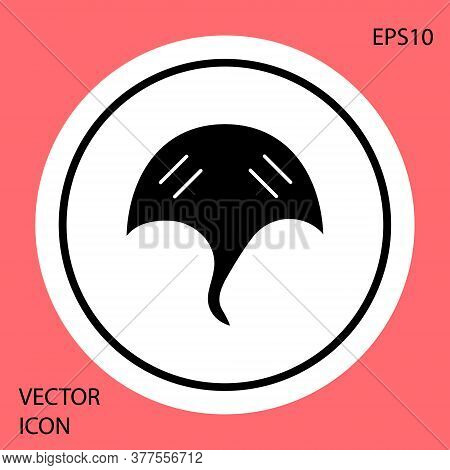 Black Stingray Icon Isolated On Red Background. White Circle Button. Vector.