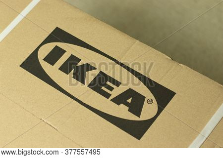 Moscow, Russia - 1 June 2020: Ikea Logo On Cardboard Delivery Box Close Up , Illustrative Editorial.