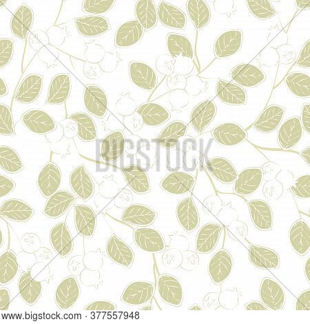 Vector Blueberry Plants In Gold And White On White Background Seamless Repeat Pattern. Background Fo