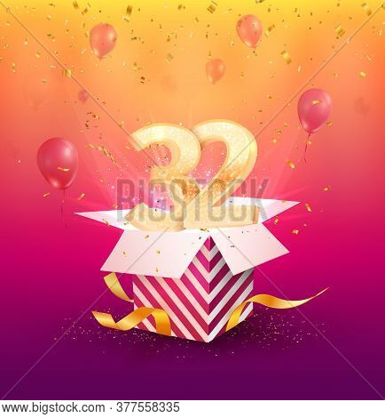 32 Th Years Anniversary Vector Design Element. Isolated Thirty Two Years Jubilee With Gift Box, Ball