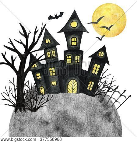 Halloween Holiday Castle, Bat, Moon, Tree. Party Card Decorations Design. Watercolor Cartoon Illustr