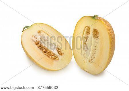 Slice Cantaloupe melon. Isolared food design.