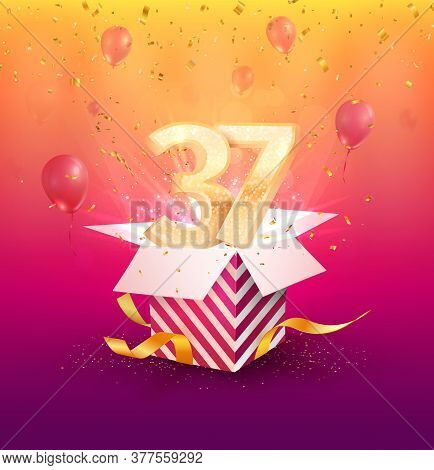 37 Th Years Anniversary Vector Design Element. Isolated Thirty Seven Years Jubilee With Gift Box, Ba