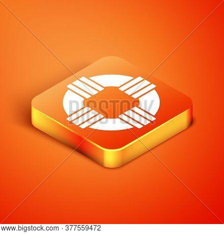 Isometric Lifebuoy Icon Isolated On Orange Background. Lifebelt Symbol. Vector.