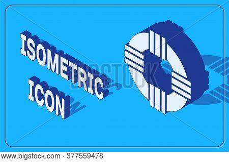 Isometric Lifebuoy Icon Isolated On Blue Background. Lifebelt Symbol. Vector.