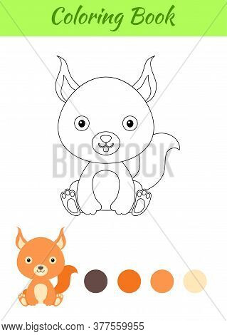 Coloring Page Little Sitting Baby Squirrel. Coloring Book For Kids. Educational Activity For Prescho