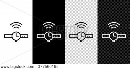 Set Line Smartwatch Icon Isolated On Black And White Background. Internet Of Things Concept With Wir