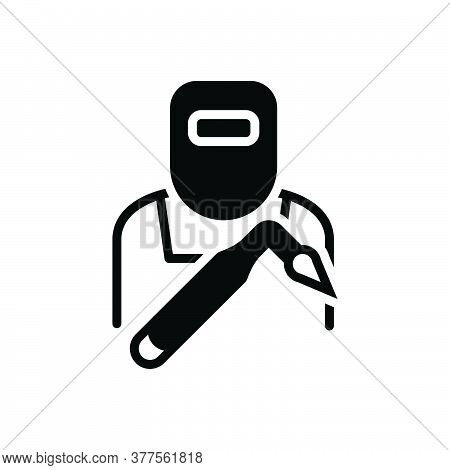 Black Solid Icon For Welder Helmet Iron-work Equipment Factory Saprk Tradesman Protection Repair