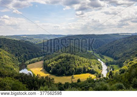 Old Forest In The Belgian Ardennes, With A View Of Tombeau Du Geant In The Region Of Bouillon During