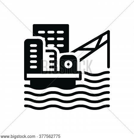 Black Solid Icon For Offshore-platform Oil-platform Offshore Development Drilling Energy Extraction
