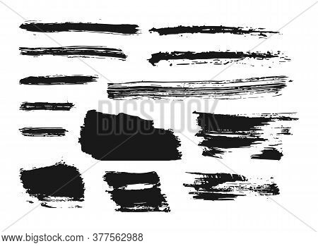 Set Of Black Paint, Ink Brush Strokes. Abstract Lines, Grungy Texture. Dirty Grunge Background For T