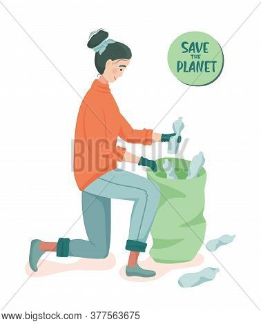 Young Woman Picks Up Plastic Bottles In A Garbage Bag.  Ecology Concept. Save The Planet. Ecological