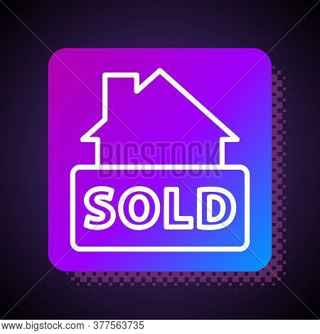 White Line Hanging Sign With Text Sold Icon Isolated On Black Background. Sold Sticker. Sold Signboa