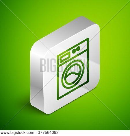 Isometric Line Washer Icon Isolated On Green Background. Washing Machine Icon. Clothes Washer - Laun