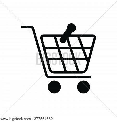 Black Solid Icon For Shopping Supermarket Basket Buy Cart Store Online Hypermarket Ecommerce Purchas
