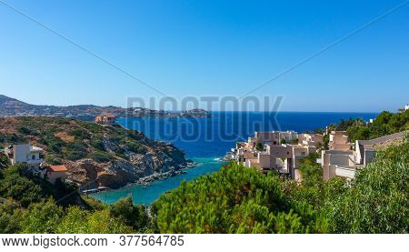Crete, Greece - August 09, 2019: View Of The Beautiful Coastline Of The Island Of Crete With Its Tou