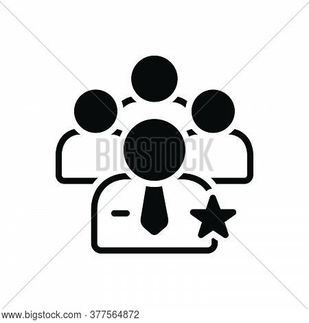 Black Solid Icon For Preferential Personnel Staff People Worker Group Employee Authorized Community