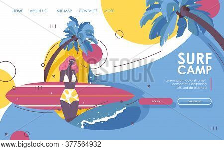 Landing Page For Surf School. Afroamerican Young Girl In A Swimsuit With Surfboard, Palms And Wave.