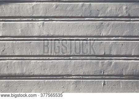 White Wood Plank Wall Texture With Low Contrast. Faded Painted Boards, Abstract Texture For The Back
