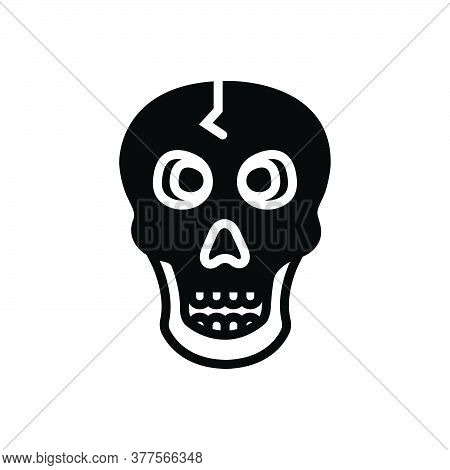 Black Solid Icon For Skull Skeleton Bone Danger Skeleton Poison Halloween Warning Scary