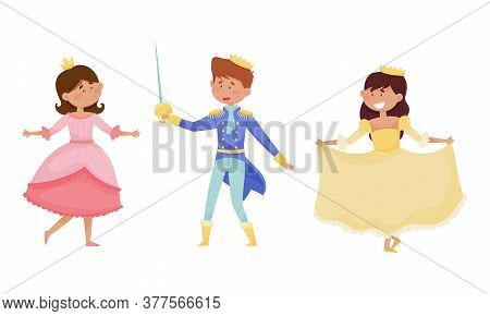Funny Little Prince And Princess Wearing Crown And Dressy Look Garments Vector Illustrations Set