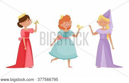 Smiling Little Prince And Princess Wearing Crown And Dressy Look Garments Vector Illustrations Set