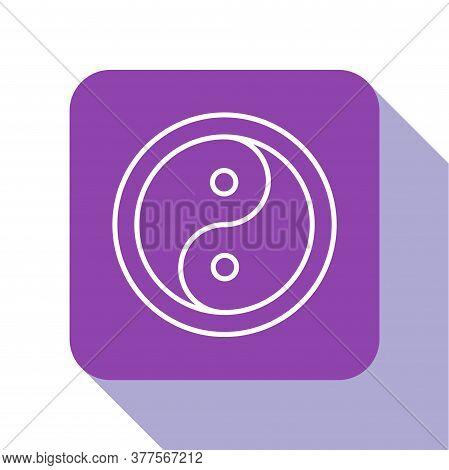 White Line Yin Yang Symbol Of Harmony And Balance Icon Isolated On White Background. Purple Square B