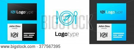 Blue Line Served Fish On A Plate Icon Isolated On White Background. Logo Design Template Element. Ve