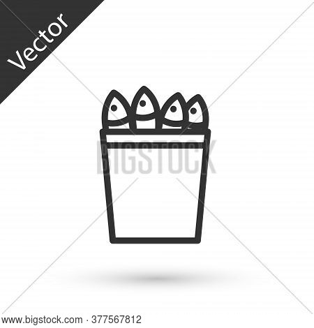 Grey Line Fishing Bucket With Fishes Icon Isolated On White Background. Fish In A Bucket. Vector.