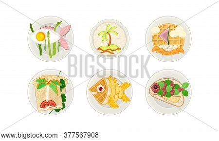 Food Arranged In The Shape Of Ship And Fish On Plate Above View Vector Illustration