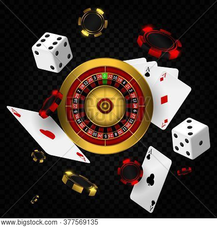 Casino Background With Roulette, Chips, Cards And Dices. Casino Vegas Fortune Roulette Wheel Design