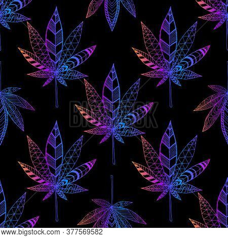 Motley Hallucinogenic Trippy Cannabis Leaves, Bright Neon Gradient Outline Color, Seamless Pattern
