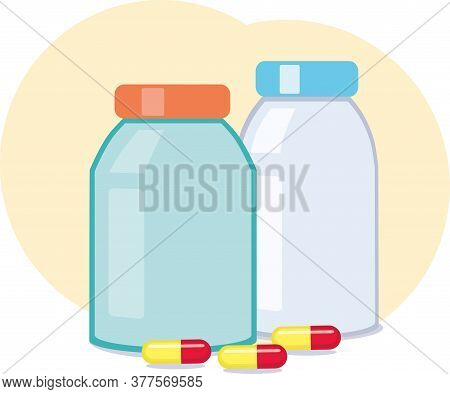Vector Blue Medicine Vesicle And Red-yellow Pills Lay Near Them. Plastic Bottle With Pharmacy For He
