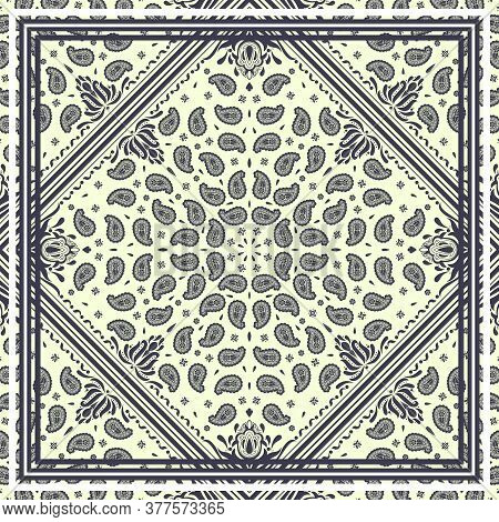 Seamless Pattern Based On Square Ornament Paisley Bandana Print For Boys And Girls. Best Motive For