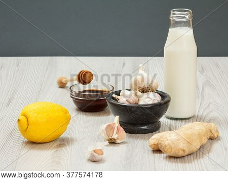 Health Remedy Relief Foods And Drink For Cold And Flu With Yogurt, Lemon, Ginger, Honey And Garlic O