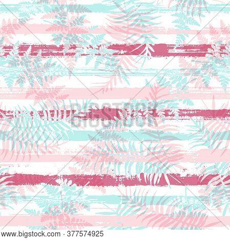 Cute New Zealand Fern Frond And Bracken Grass Overlapping Stripes Vector Seamless Pattern. Caribbean