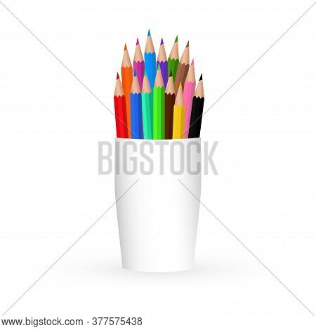 Colored Pencil In A White Package. Template Design, Clipart Or Layout For Graphics. Subjects Of Chil