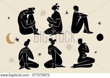 Black Sitting Girls Wearing Gold Jewelry. Silhouettes Of Female Figures, Sun, Stars, And Moon. Moder