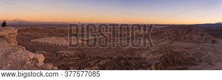 Looking Sunset At Moon Valley Valle De La Luna Near San Pedro De Atacama In Chile.