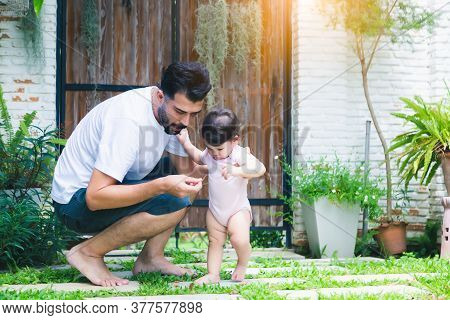 Adorable Little Baby Daughter Learning About Environment At House Her Father Teaching Beloved Daught