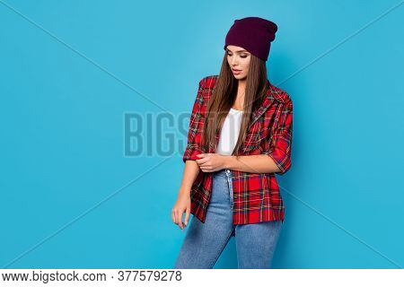 Portrait Of Her She Nice-looking Attractive Lovely Charming Long-haired Girl Wearing Checked Shirt A