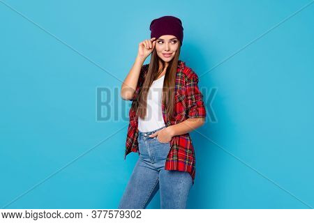 Portrait Of Her She Nice-looking Attractive Lovely Pretty Cute Cheery Long-haired Girl Wearing Check
