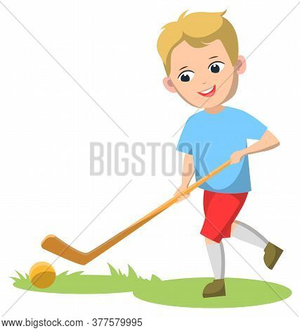 Child Playing Sportive Game Vector, Field Hockey Player Flat Style Character. Back To School Concept