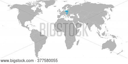 Hungary, Poland Countries Isolated On World Map. Light Gray Background. Economic And Trade Relations