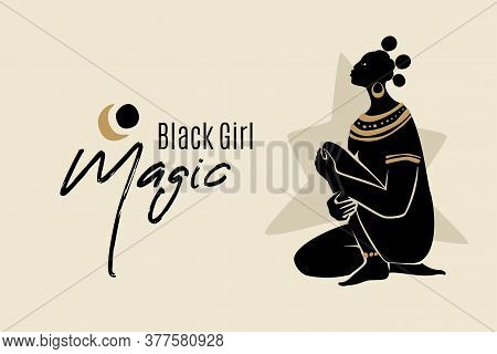 Black Girl Magic Banner Template With Sitting African American Woman Silhouette. Modern Vector Abstr