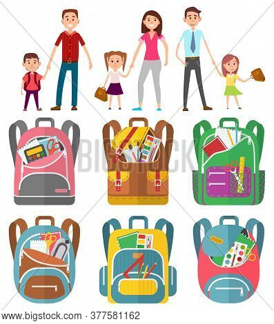 Parent Holding Child, Mother And Father With Daughter And Son. To School With Parents, Backpack With