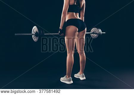 Cropped Behind Photo Short Sport Suit Lady Heavy Barbell Hands Try Hard Doing Squats Isolated Black